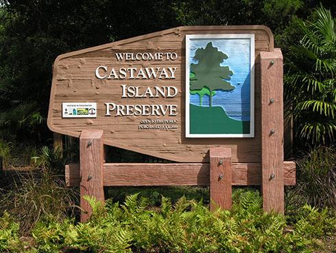 Sandblasted Cedar Sign Castaway